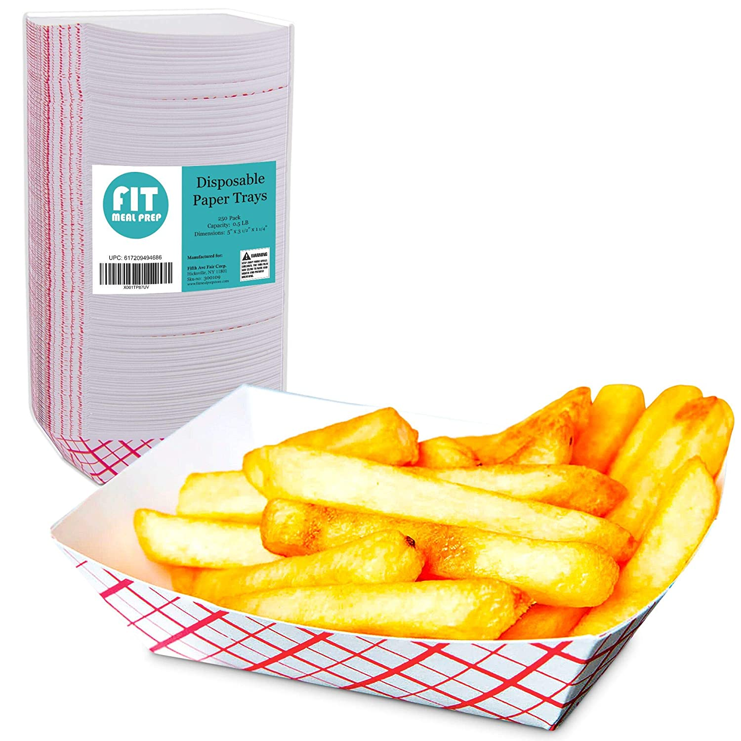 [250 Pack] 0.5 lb Heavy Duty Disposable Red Check Paper Food Trays Grease Resistant Fast Food Paperboard Boat Basket for Parties Fairs Picnics Carnivals, Holds Tacos Nachos Fries Hot Corn Dogs