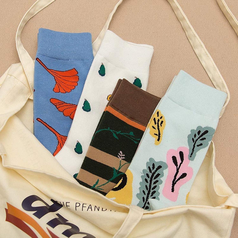 Winter Tide Socks Harajuku Hip Hop Funny Sock Creative Combed Cotton Flowers Pattern Art Colorful Short Socks