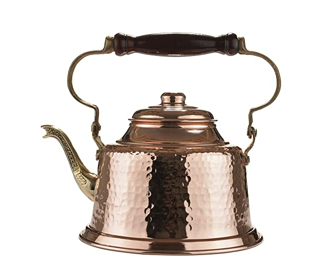 MisterCopper Heavy Gauge 1mm Thick Hammered Copper Tea Pot Kettle Stovetop Teapot 1.6 Quart (Handmade)