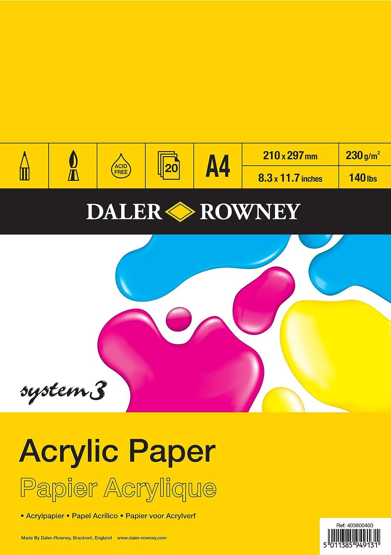 Papel para acuarela A4, 20 unidades blanco Daler-Rowney DR403600400