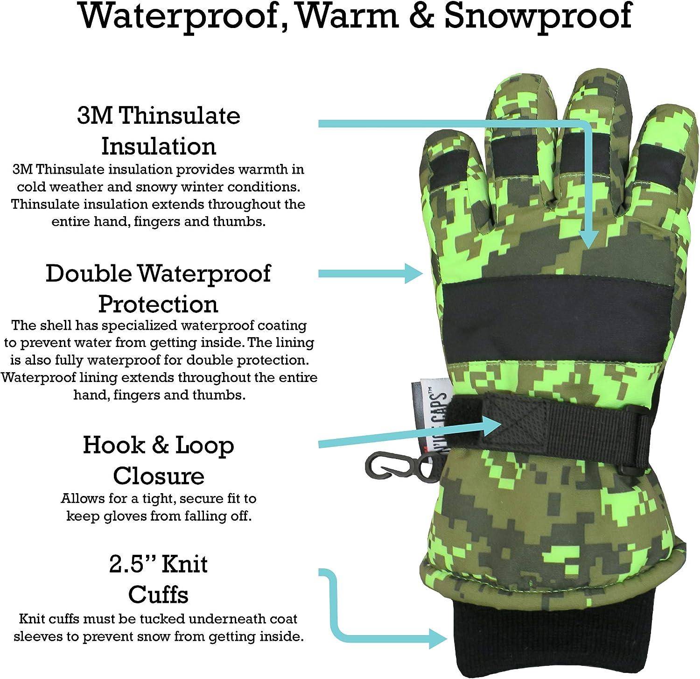 NIce Caps Boys Cold Weather Waterproof Camo Print Ski Gloves