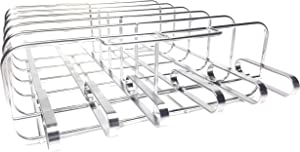 Cataumet BBQ Barbecue Combo Shish Kabob Skewer Holder and Rib Rack Grilling Stand Made with Genuine 304 Stainless Steel with 6 Skewers