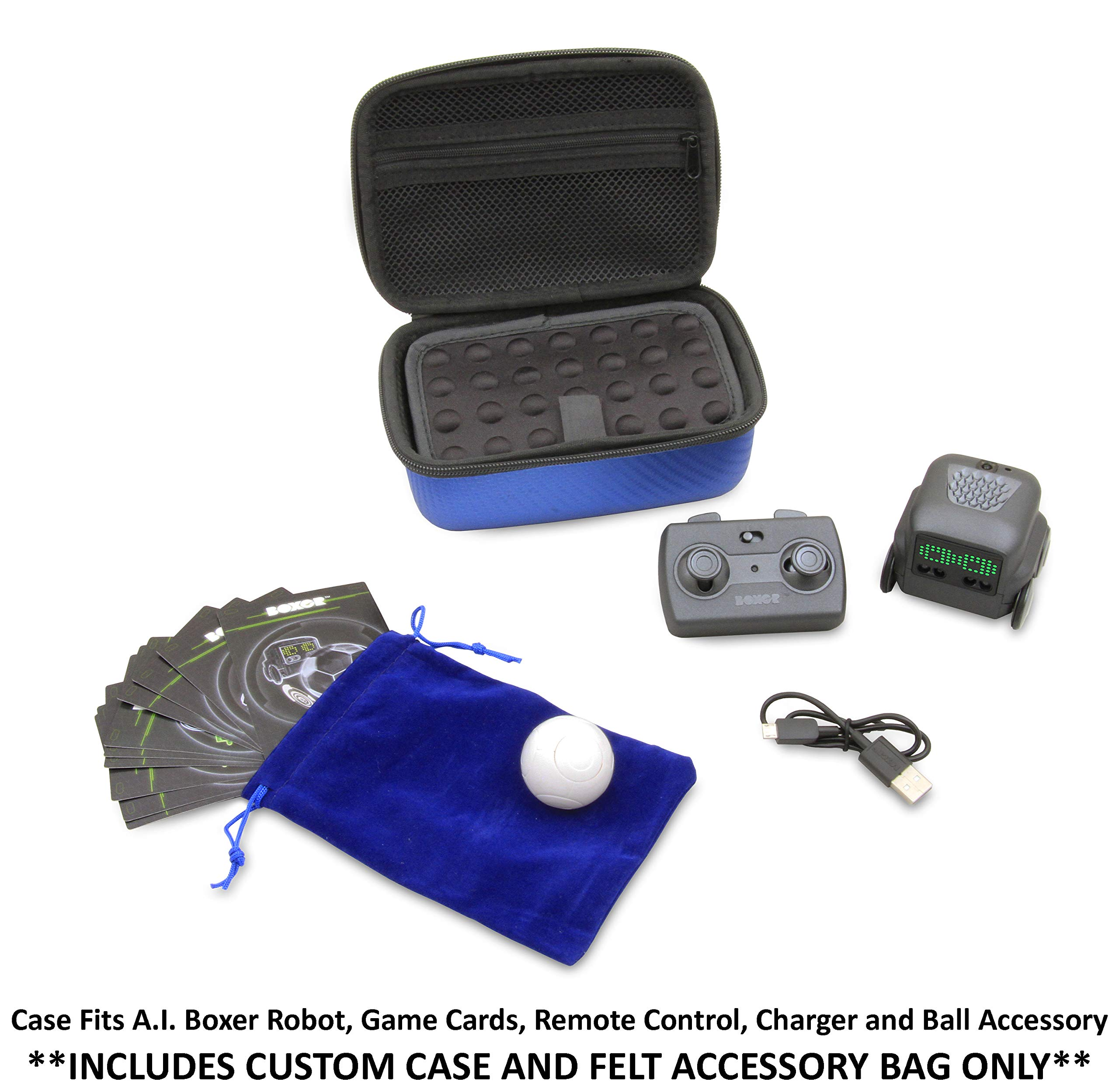 CASEMATIX Blue Toy Case Compatible with Boxer Interactive A.I. Robot - Includes Toy Box and Felt Bag to Hold Game Activating Feature Cards by CASEMATIX (Image #5)