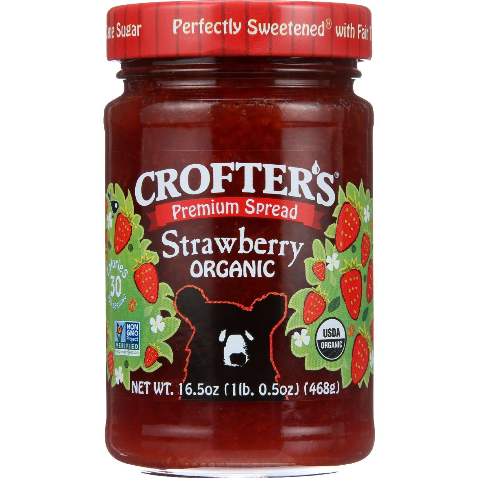 Crofters Fruit Spread - Organic - Premium - Strawberry - 16.5 oz - Pack of 6