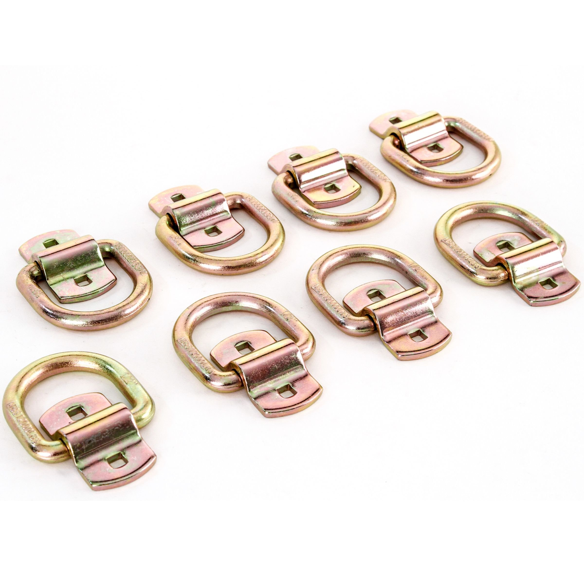 (8) 1/2'' Bolt or Weld-On D-Ring Flatbed Truck Trailer Cargo Strap Tie Down Rings