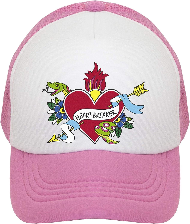 Toddler and Youth. JP DOoDLES Heartbreaker Tattoo Hat Kids Trucker Hat Baseball Mesh Back Cap fits Baby
