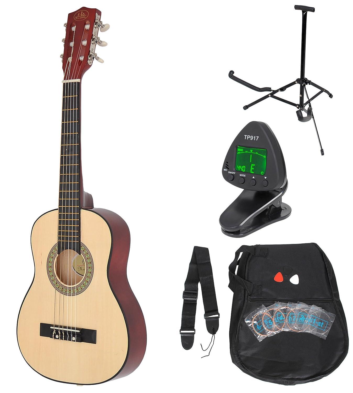 1/4 Kinder Akustik Klassik Gitarre Natur Braun Konzertgitarre ca. 4-7 Jahre als Set mit Stimmgerät, Gitarrenständer undErsatzsaiten ts-ideen 5340
