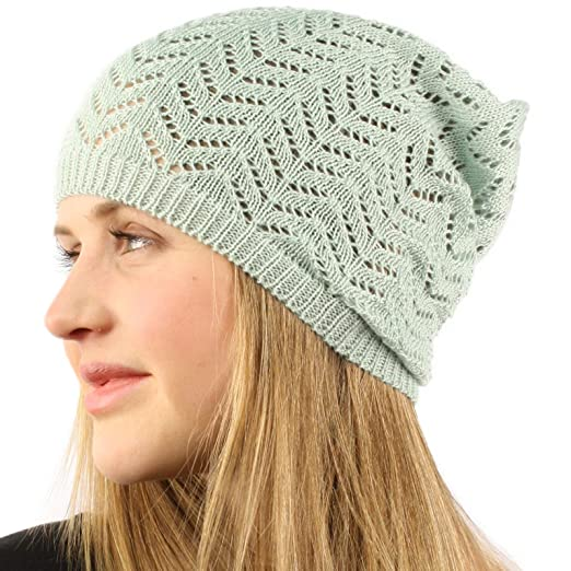 Unisex Chevron Vented Soft Knit Long Beanie Slouchy Slouch Skull Hat