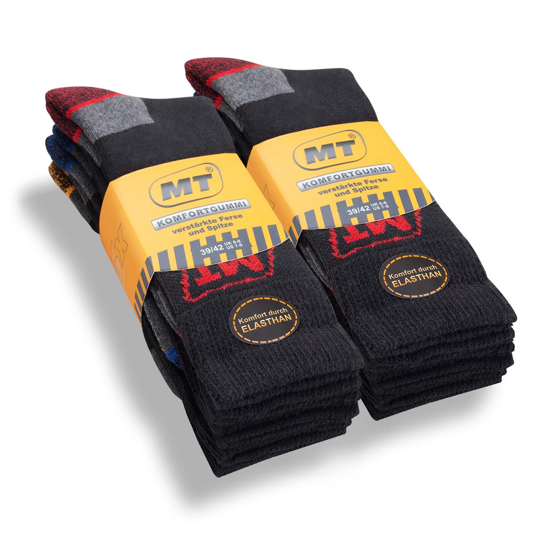 6paia di calzini MT® da uomo per il lavoro e il tempo libero con interno in spugna, calze funzionanti, adatte alle vene, traspiranti, resistenti; qualità superiore di Celodoro resistenti; qualità superiore di Celodoro nero 39/42