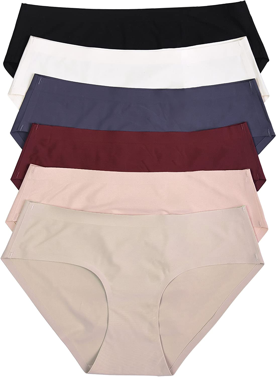 ToBeInStyle Womens 6 Pack No Show Seamless Bikini and Hipster Panties