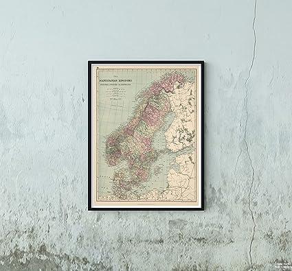 Cartina Norvegia Da Stampare.New York Map Company 1873 Mappa Mondo Atlas Scandinavian Kingdoms Norvegia Svezia E Danimarca Riproduzione D Arte Vintage Dimensioni 45 7 X 61 Cm Pronta Da Incorniciare Amazon It Casa E Cucina