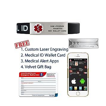 Amazon Com Divoti Custom Engraved Silicone Medical Alert Bracelet