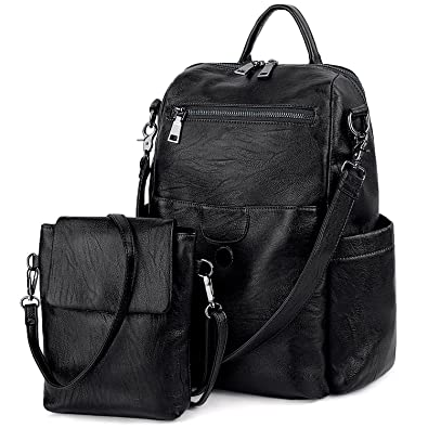 2bc67ff6011 UTO Women Backpack Purse PU Washed Leather Ladies Rucksack Detachable  Crossbody Shoulder Bag B Black