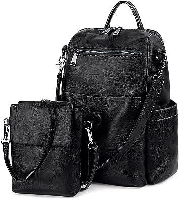 UTO Women Backpack Purse Ladies Rucksack Detachable Crossbody Shoulder Bag PU Leather/Nylon Fabric Version