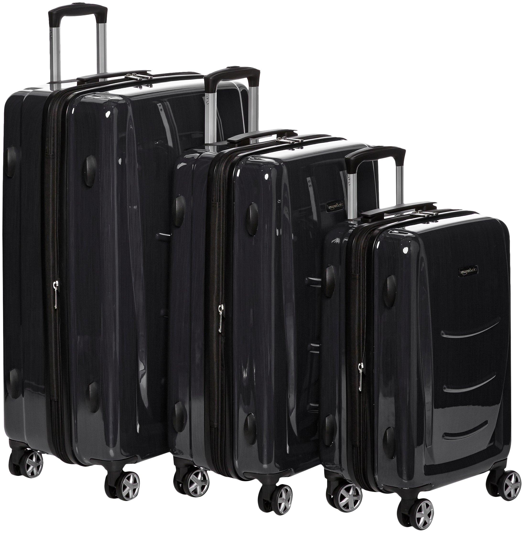 AmazonBasics Hardshell Spinner, 3 Piece Set - 20'', 24'', 28'', Slate Grey