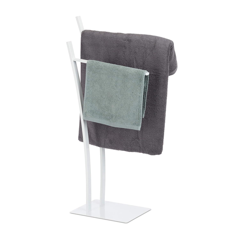 Relaxdays Handtuchständer mit 2 Stangen, Freistehender Handtuchhalter eckig, Badetuchhalter HBT 88 x 43 x 24 cm, Weiß