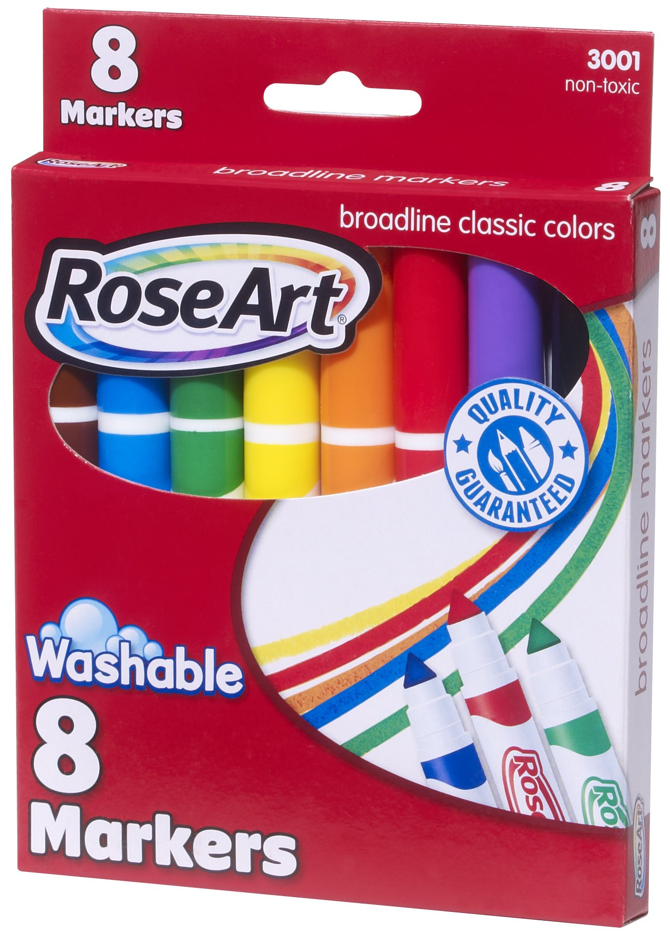 RoseArt 8-Color Classic Washable Broadline Markers, Pack of 6 (3001)
