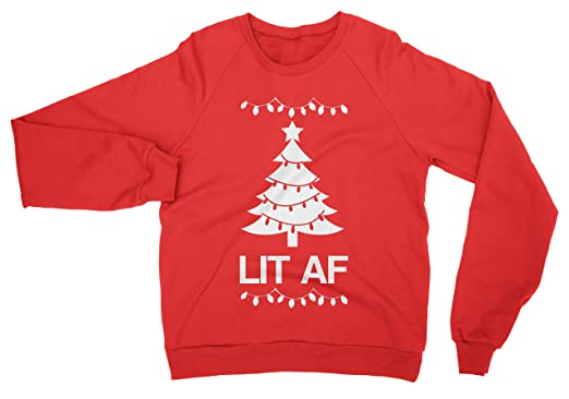amazoncom lit af christmas red sweatshirt by nobull woman clothing