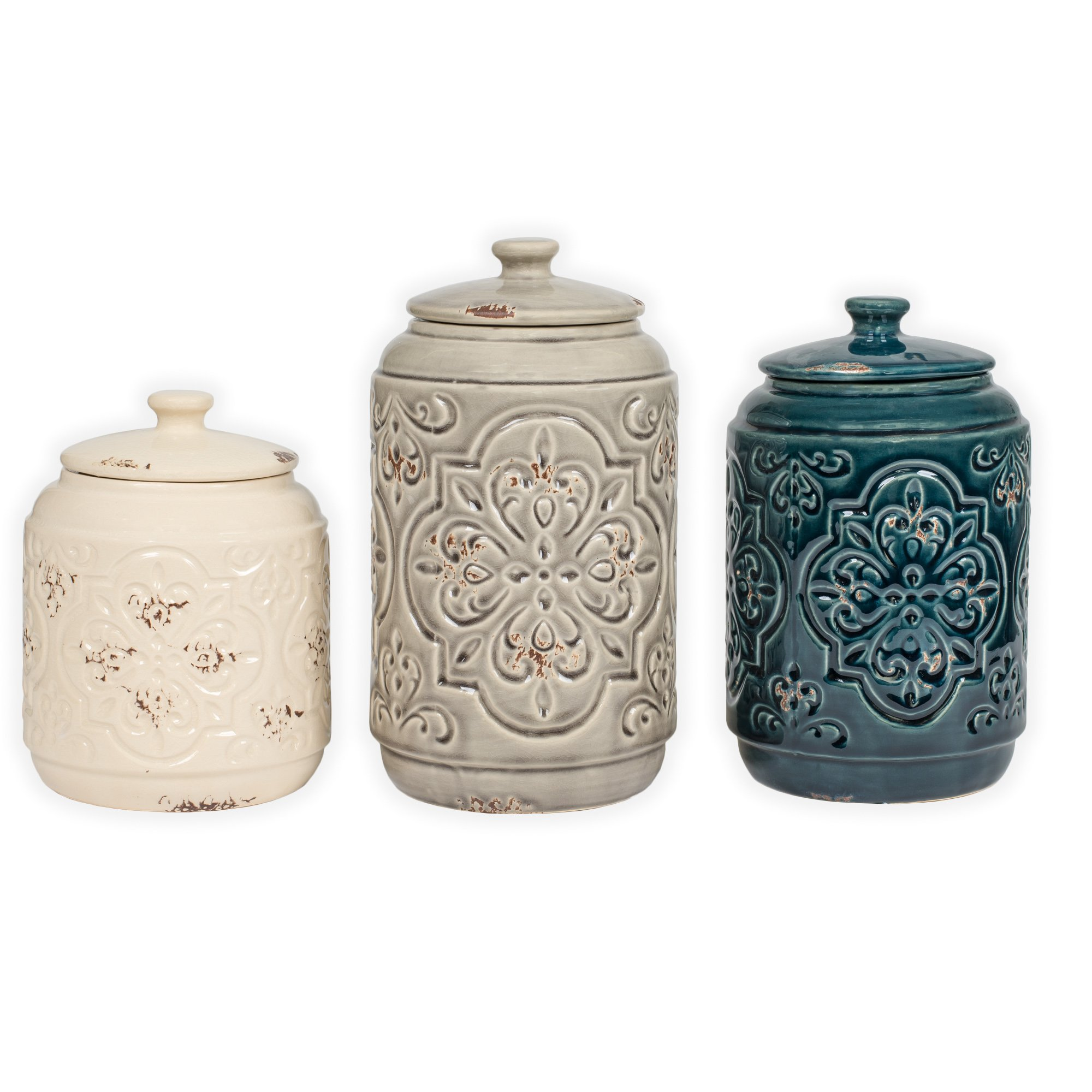 Ceramic Distressed Quilt Pattern Blue Grey Cream 3 Pc Canister Set by Drew Derose
