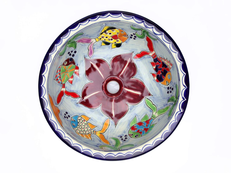 Delmar Cerames - Lavabo da incasso dipinto a mano, 43 x 13 cm
