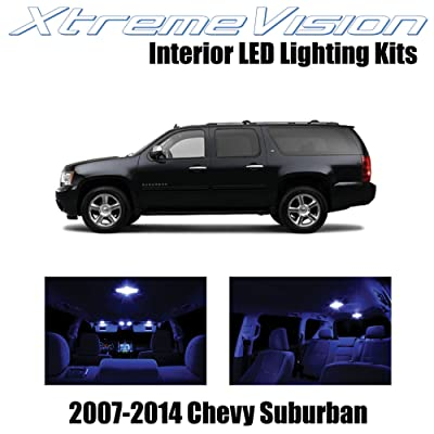XtremeVision Interior LED for Chevy Suburban 2007-2014 (14 Pieces) Blue Interior LED Kit + Installation Tool: Automotive