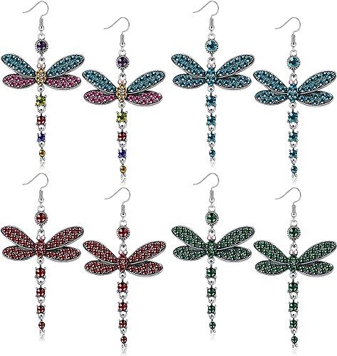 NEW Beautiful Multi Coloured Dangling Dragonfly Earrings UK Seller