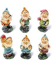 Juvale Lot de 6Mini Figurines de Nain–Nain de Jardin Gnomes de fée–Figurines, Couleurs Assorties, 4,3x 10,2x 4,1cm