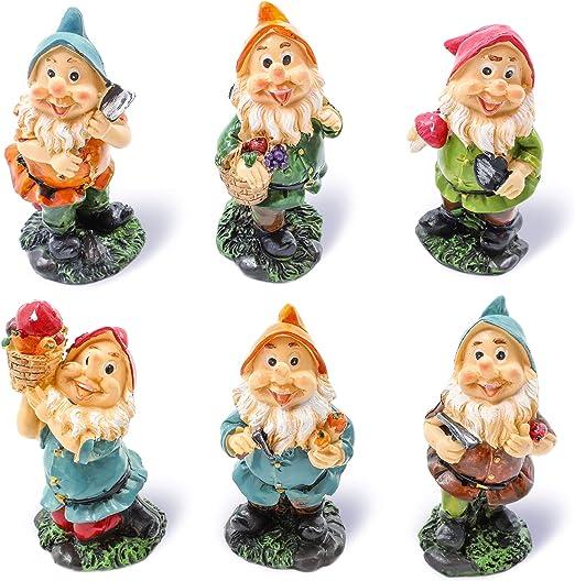 Conjunto de gnomos en miniatura de Juvale, minifiguras decorativas, accesorios para el jardín, personajes variados, decoración del hogar, decoración de mesa, inauguración de la casa, regalo de boda: Amazon.es: Jardín