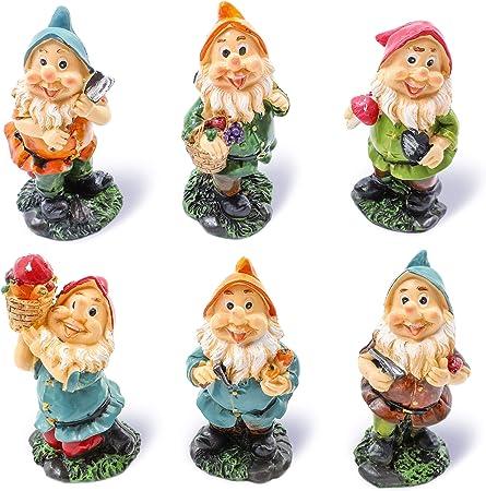 Dekoration Garten 9-17 cm hoch 7er Set Figuren Gartenzwerge Zwerge