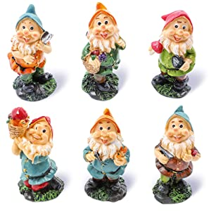 Juvale Happy Mini Gnome Figurines (Set of 6) for Fairy Gardens - 4 inches Tall