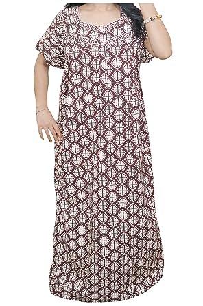 Women\'s Caftan Brown Designer Print Kaftan Cotton Dress XXL at ...