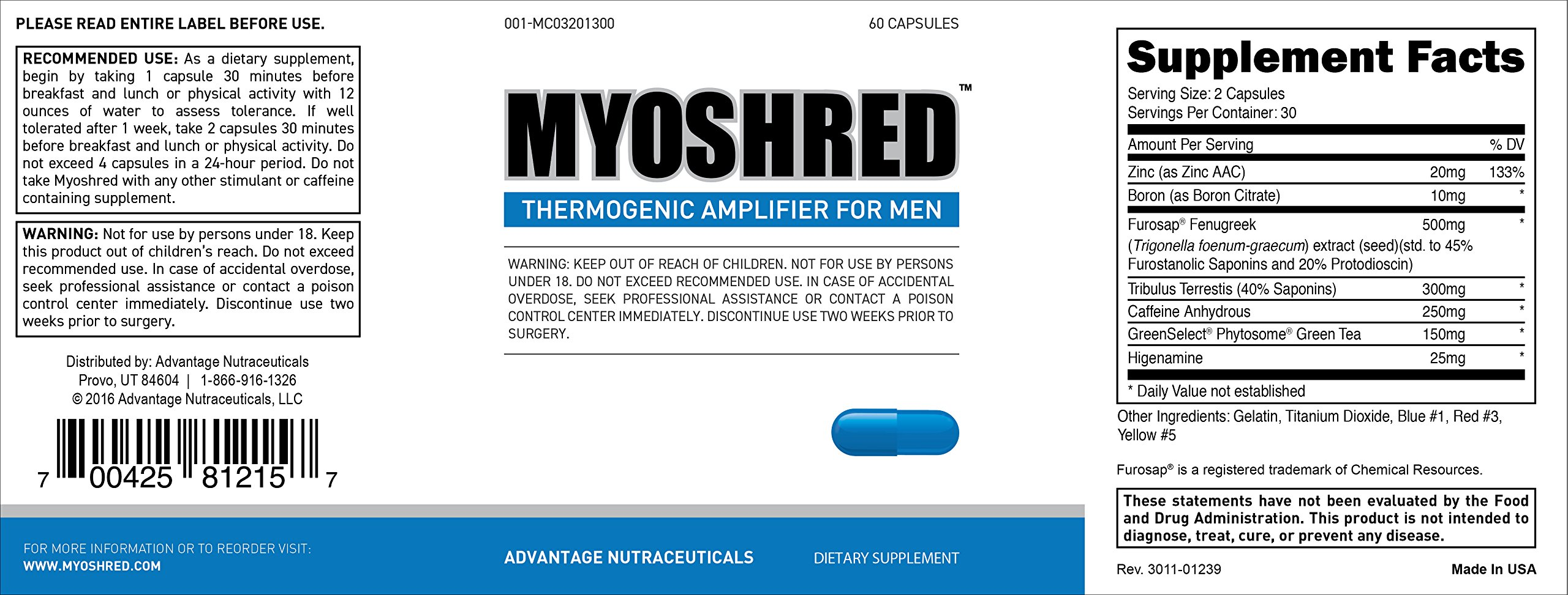 Myoshred (3 Pack)- Top Diet Pill and Thermogenic for Men - Diet and Muscles Supplement by Advantage Nutraceuticals (Image #7)