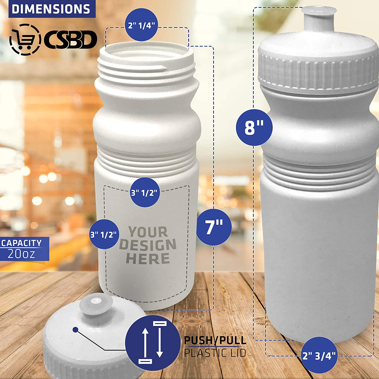 6 Pack HDPE Plastic Bulk Made in USA BPA Free CSBD Blank 20 oz Sports and Fitness Squeeze Water Bottles