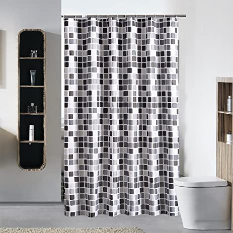 Frosttoad Mosaic Shower Curtain Add Thick Waterproof Curtain Anti Mould  Polyester Cloth Shower Curtain,