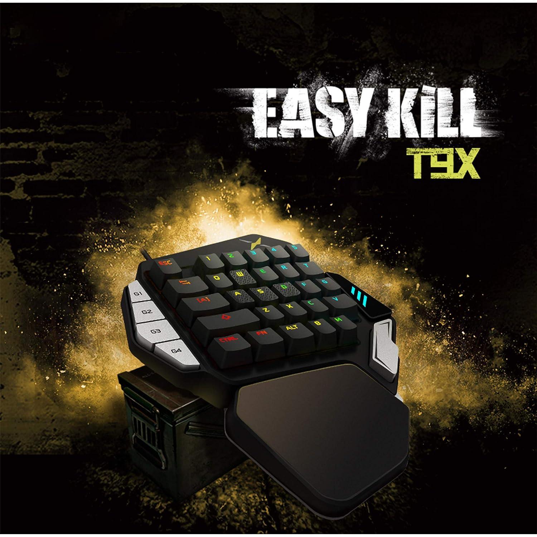 Teclado de juego para una sola mano, JTD 33-Key Ergonomic Wired Keyboard, Teclado de juego mecánico programable profesional, LED con retroiluminación ...