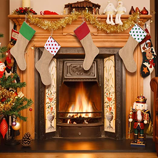 Amazon.com: Sumind 4 Pieces Christmas Burlap Stockings Xmas Fireplace Hanging Stockings for Christmas Decoration DIY (Color Set 4): Home & Kitchen