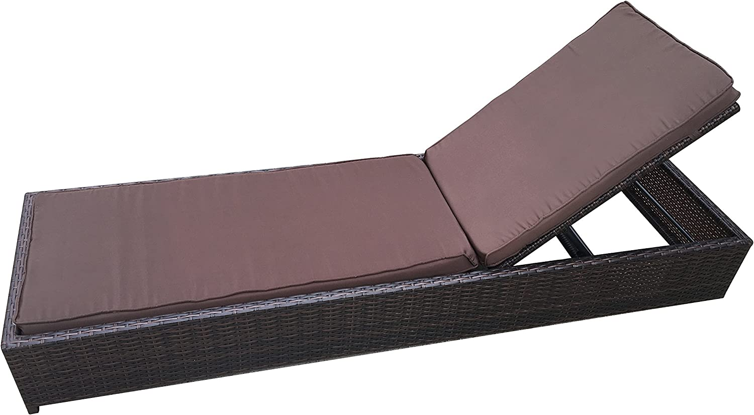 Divano Roma Furniture Modern Rattan Outdoor Lounge Chaise – All Weather Patio Chair Brown Brown