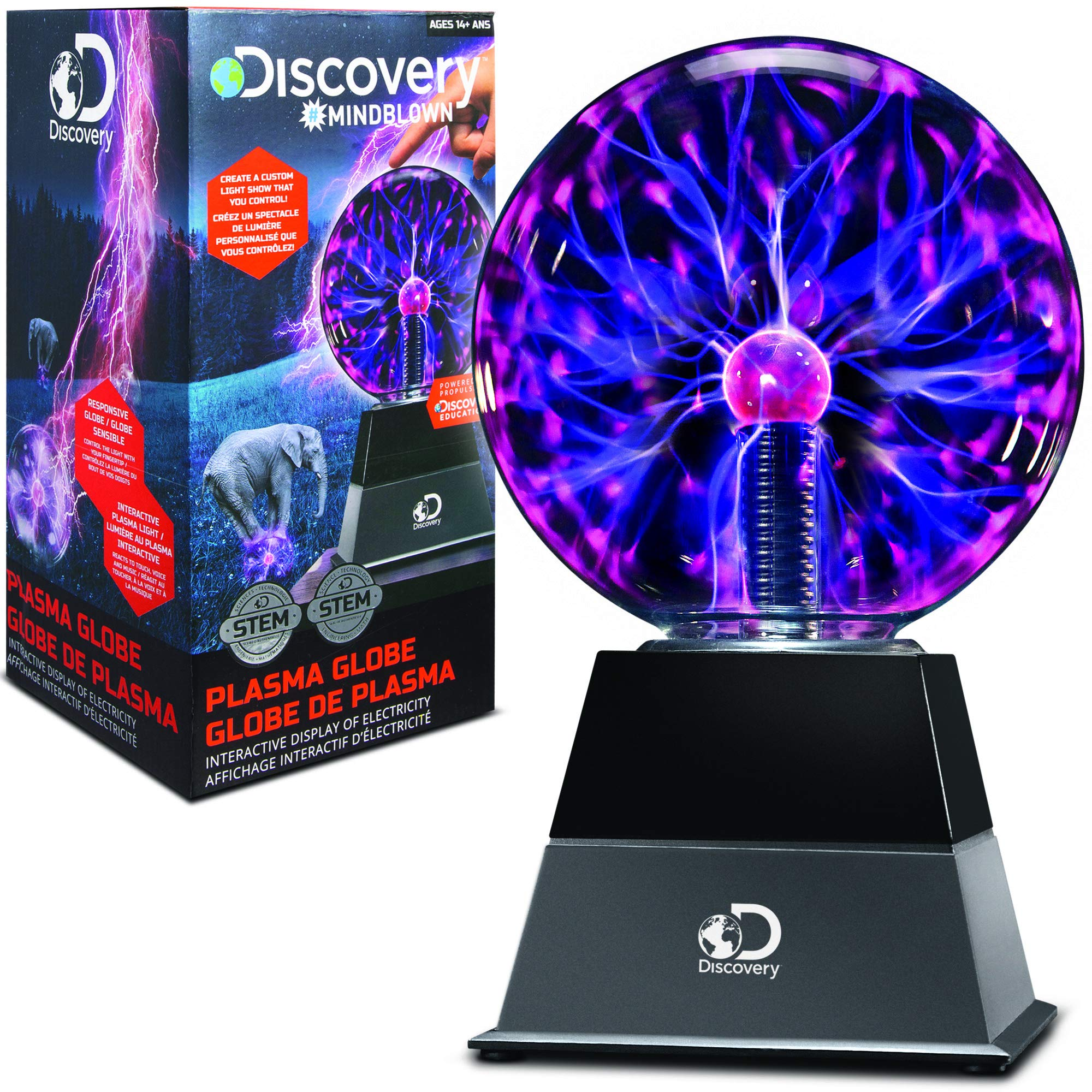 DISCOVERY KIDS 6'' Plasma Globe Lamp with Interactive Electronic Touch and Sound Sensitive Lightning and Tesla Coil, Includes AC Adapter, STEM Lava Lamp Style Light for Desk, Kids Room, and More by Discovery Kids (Image #2)