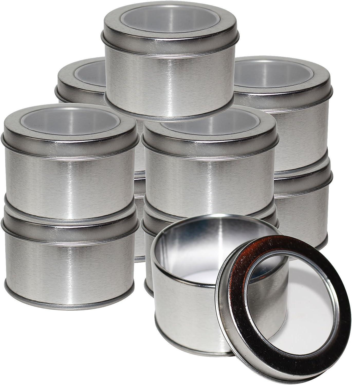 Kurtzy Latas Redondas de Metal Pequeñas (10 Pz) - 4 x 6.5cm Latas de Aluminio con Tapa - Cajas Metalicas para Cosméticos, Bálsamo Labial, Viajes - Set Contenedor Especias con Ventana Transparente: Amazon.es: Hogar