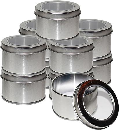 Kurtzy Latas Redondas de Metal Pequeñas (10 Pz) - 4 x 6.5cm Latas de Aluminio con Tapa - Cajas Metalicas para ...