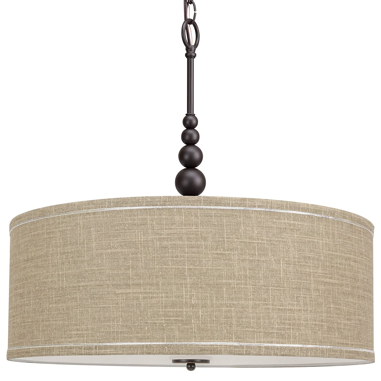 "Kira Home Adelade 22"" 3-Light Modern Chandelier, Sand Fabric Drum Shade & Glass Diffuser, Oil-Rubbed Bronze Finish"