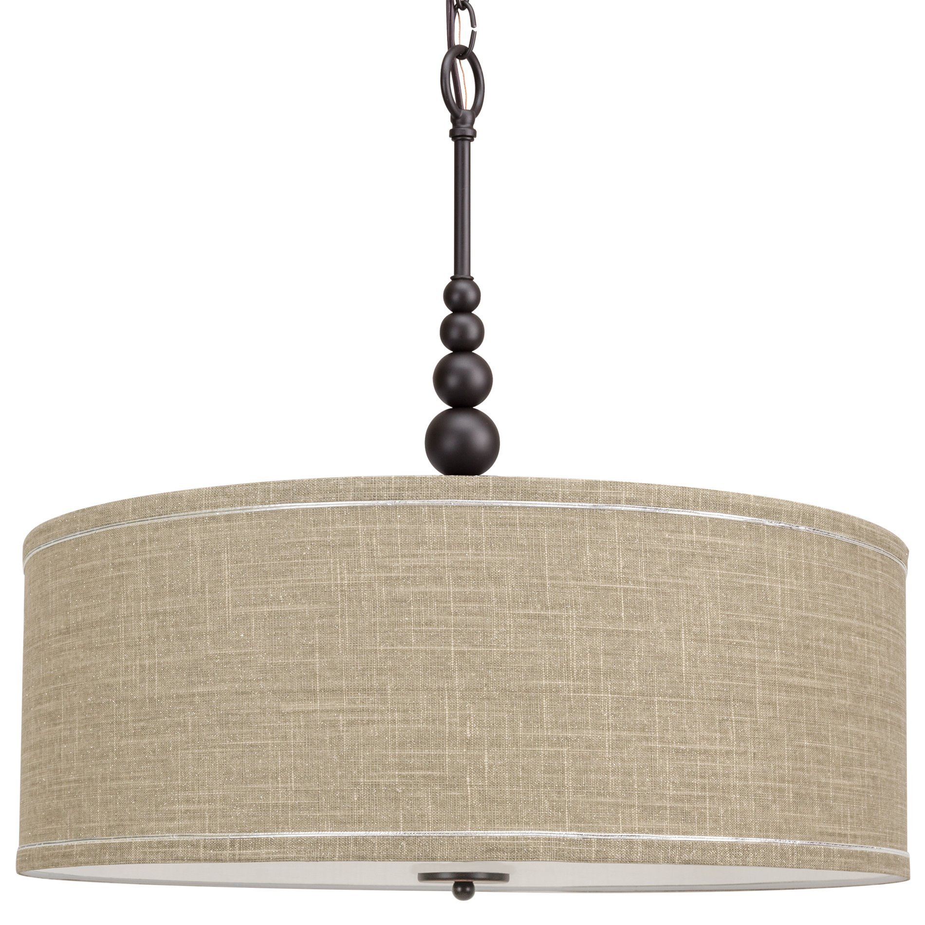 Kira Home Adelade 22'' Modern 3-Light Drum Pendant Chandelier, Sand Fabric Shade, Tempered Glass Diffuser, Adjustable Height, Oil-Rubbed Bronze Finish