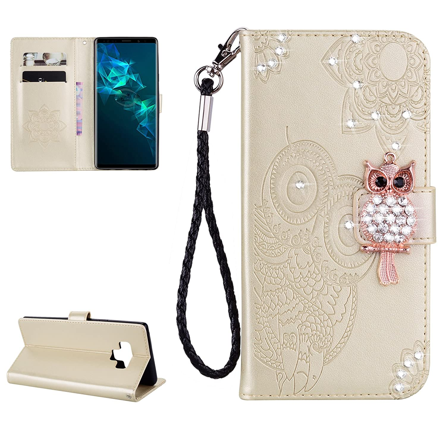 Glitter Diamond Wallet Case for Samsung Galaxy Note 9, Gostyle Embossed Owl Flower Leather Flip Card Holder Case, 3D Bling Rhinestone Magnetic Closure with Hand Strap Stand Cover-Gold
