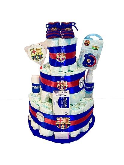 Tarta de pañales DODOT F.C.Barcelona MUSTELA (Talla 2 (3-6 kg)