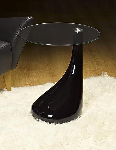 Whatsize Enterprise Side Table/End Table/Lamp Table Round, Black Gloss,