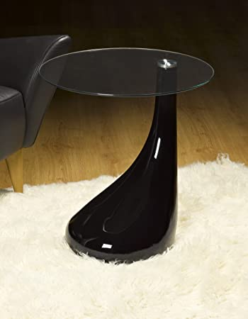 Side Table / End Table / Lamp Table Round , Black Gloss, Modern Design