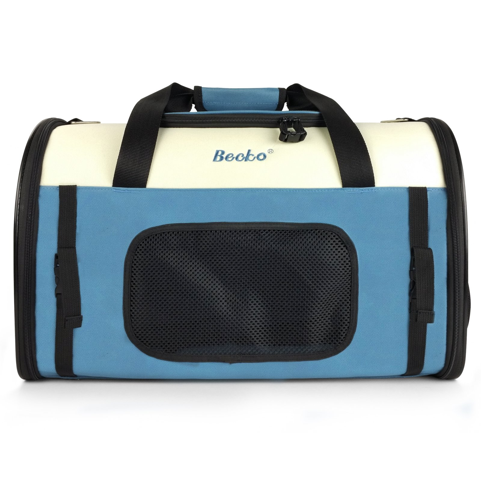 Becko Expandable Foldable Pet Carrier Travel Handbag with Padding and Extension (Blue) by Becko (Image #2)