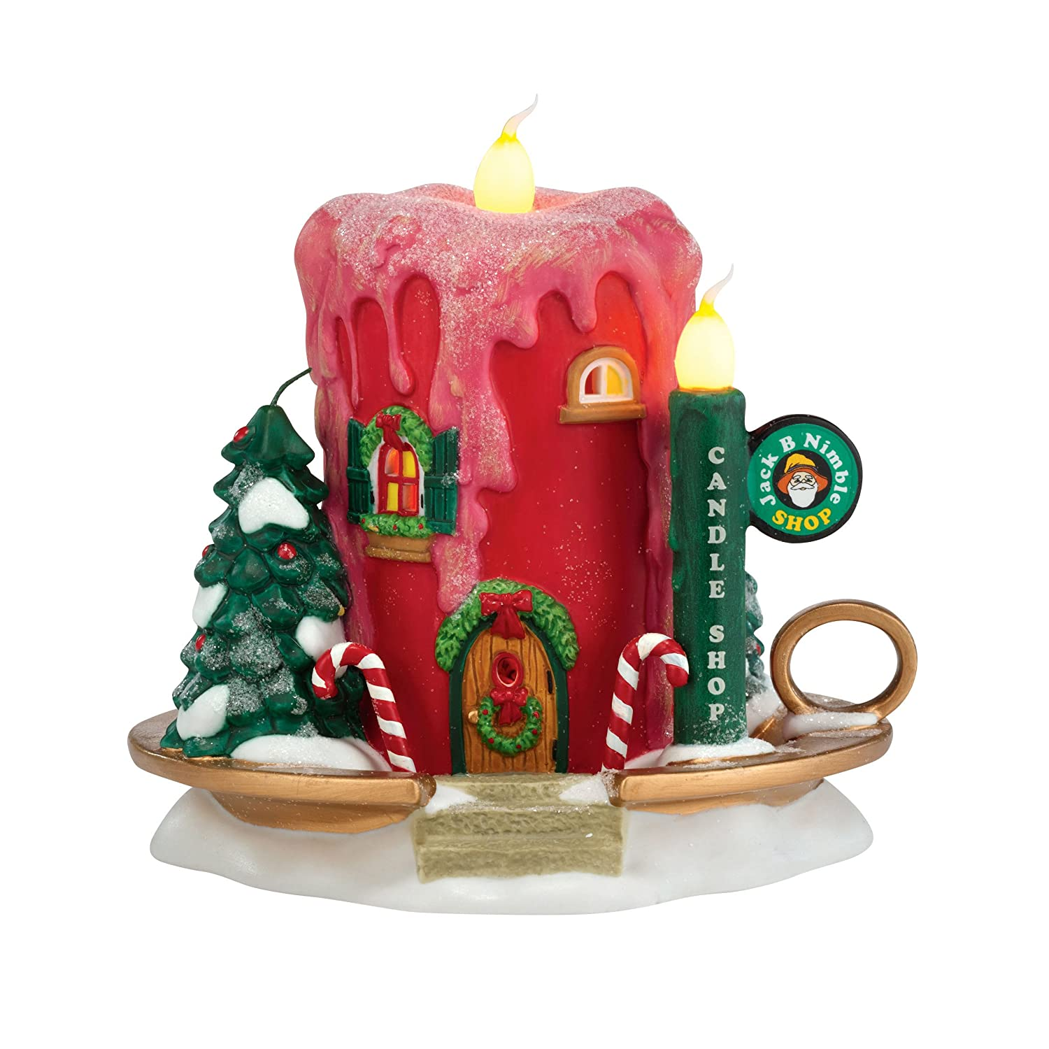 Department 56 North Pole Series Village Jack B. Nimble Candle Ornament Lit House, 5.31-Inch 4030719