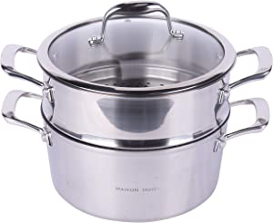 MAISON HUIS Nonstick Less Oil Smoke 430 Stainless Steel Soup Pot 3.8 Quart Food grade ILAG Marble Coating Steam up and Boil down 11.02inch Diameter Silver
