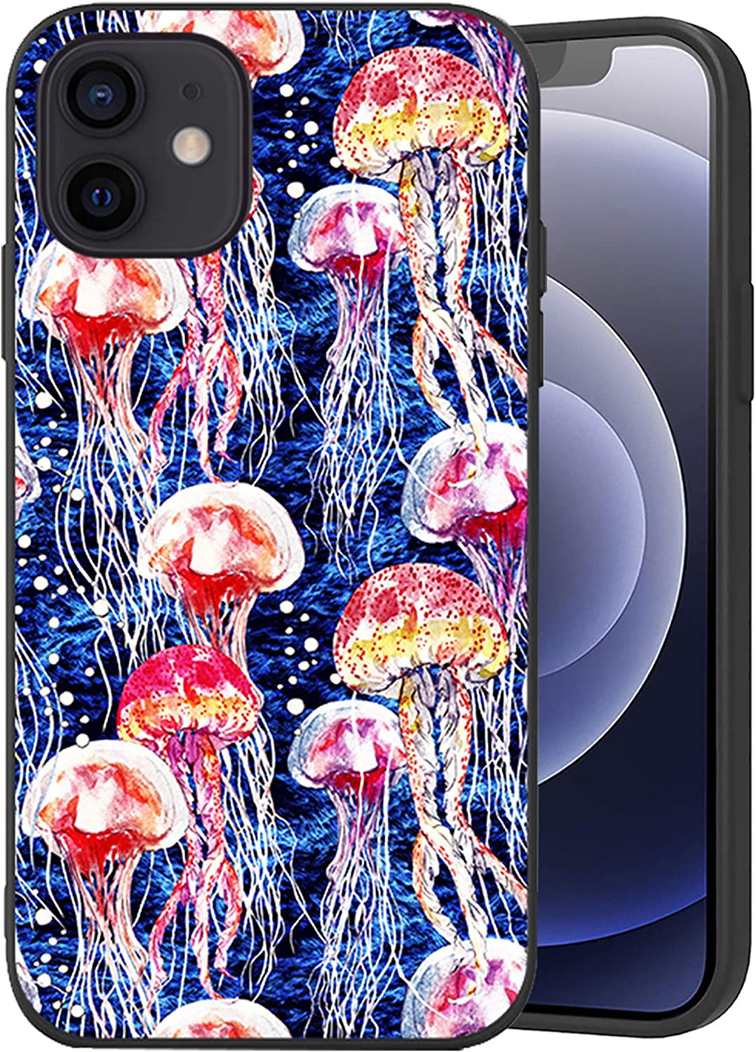 Wozukia Bright Jellyfish Case Compatible with iPhone 12 and iPhone 12 Pro 6.1 Inch 2020 Bubbles on The Blue Watercolor Texture Nautical Ocean Marine Red Soft Flexible TPU Shockproof Protector Cover